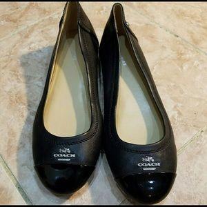 Coach Black Genuine Leather Ballet Flats 9